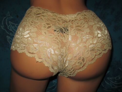 nwt Sociology Intimates Soft Stretchy Lace Beige Cheeky Boyshorts Panties L