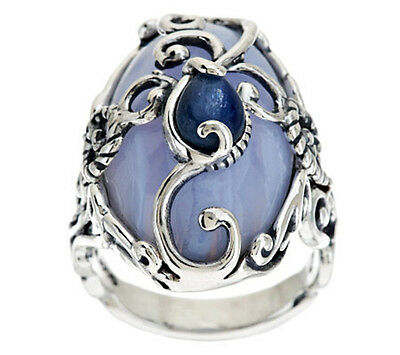 Carolyn Pollack Half Moon Sterling Silver Blue Lace Agate Kyanite Ring Sz 5 QVC