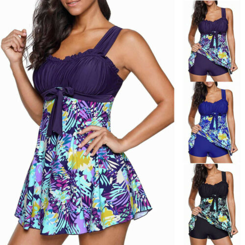 2PCS Women Ladies Floral Print Swimwear Tankini Plus Size Swimdress Beachwear