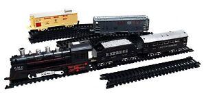 19 tlg Eisenbahn Schnellzug Set Train Lok Lokomotive Waggons Schienen mit Licht