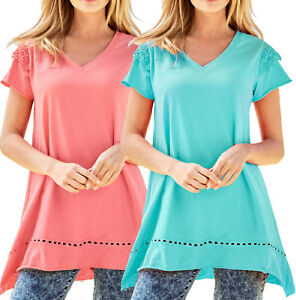 UK-Size-6-38-Ladies-Cotton-Long-Asymmetrical-Tunic-Top-Coral-Turquoise