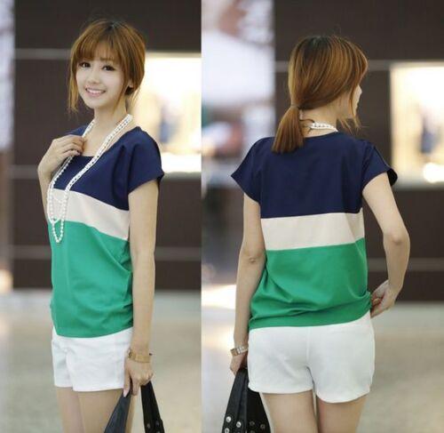 Womens//Ladies Tops STRIPE Short Sleeve Blouse T-Shirt Size 6 8 10 12 14 16 UK