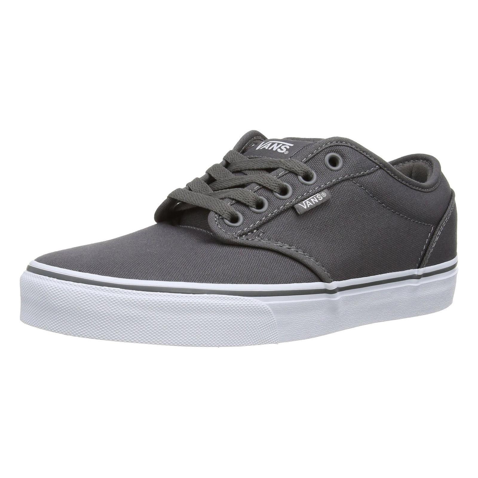 VANS Atwood Mens Lona Zapatillas Skater Liso Zapatos Con Cordones Plimsolls Gris Blanco