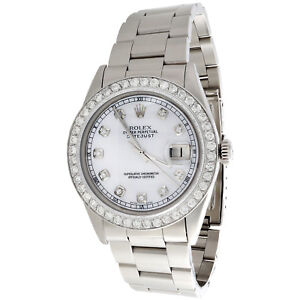 Mens-Rolex-36mm-DateJust-16014-Diamond-Watch-Oyster-Band-White-MOP-Dial-2-CT