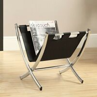 Magazine Rack Standing Display Stand Black Metal Chrome Modern Organizer Office