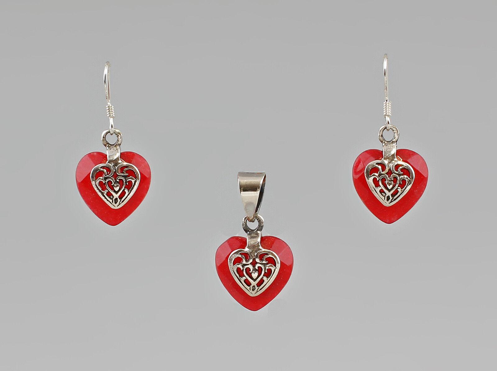 9907297 925 silver garniture pendentif boucles d'oreilles karneol-herzen