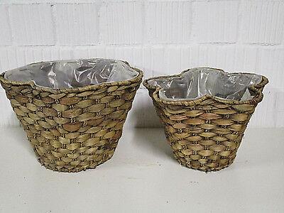 Dekoration Wasserhyazinthe Set x 2 Körbe oval Blumentopf Pflanzgefäß Natur Korb
