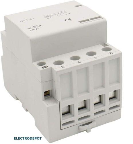 Contactor 60A 4 Pole Quiet Silent 30Amp 40A 50A w DIN Rail 110 120V Coil N.O