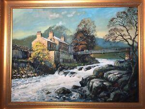 Kunstwerk-Olgemaelde-Linton-falls-Wharfedale-Yorkshire-Blick-von-Keith-Cresswell