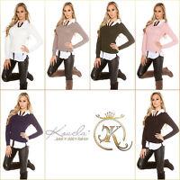 KouCla 2 in 1 Pullover Bluse onesize 34 36 38 Blau, Navy
