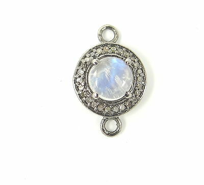 Pave Diamond Rainbow Moonstone Connector on Thick Gunmetal Finish Round Circle Link Chain Necklace  AAA Quality Moonstone Connector Pendant