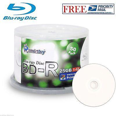 50 Pack SmartBuy BD-R BDR 6X 25GB Blu-ray White Inkjet Hub Printable Record Disc