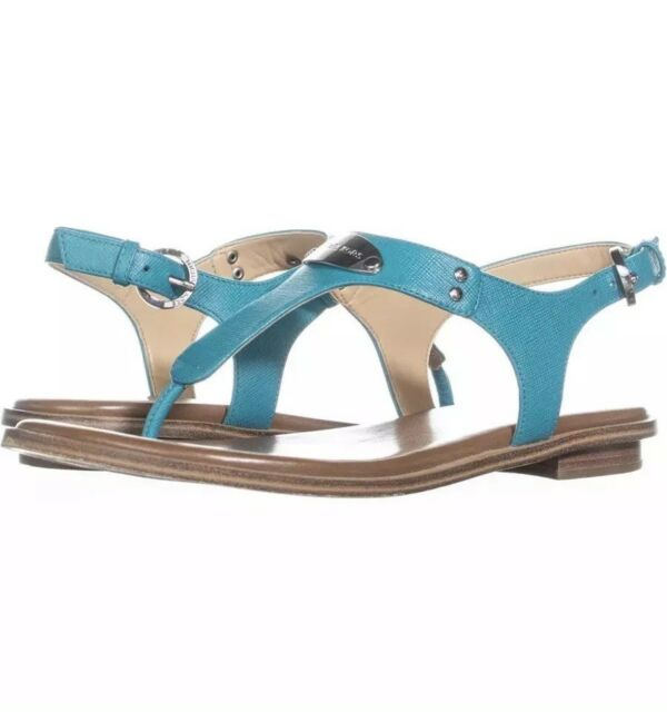 c586ae40641 NIB Michael Kors MK Plate Thong Logo Leather Flat Sandals Tile Blue 6 US 36  EU