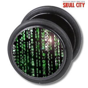 CODE-FAKEPLUG-Fake-Piercing-Picture-Plug-Ohrstecker-Matrix-Cyber-Gothic-Punk