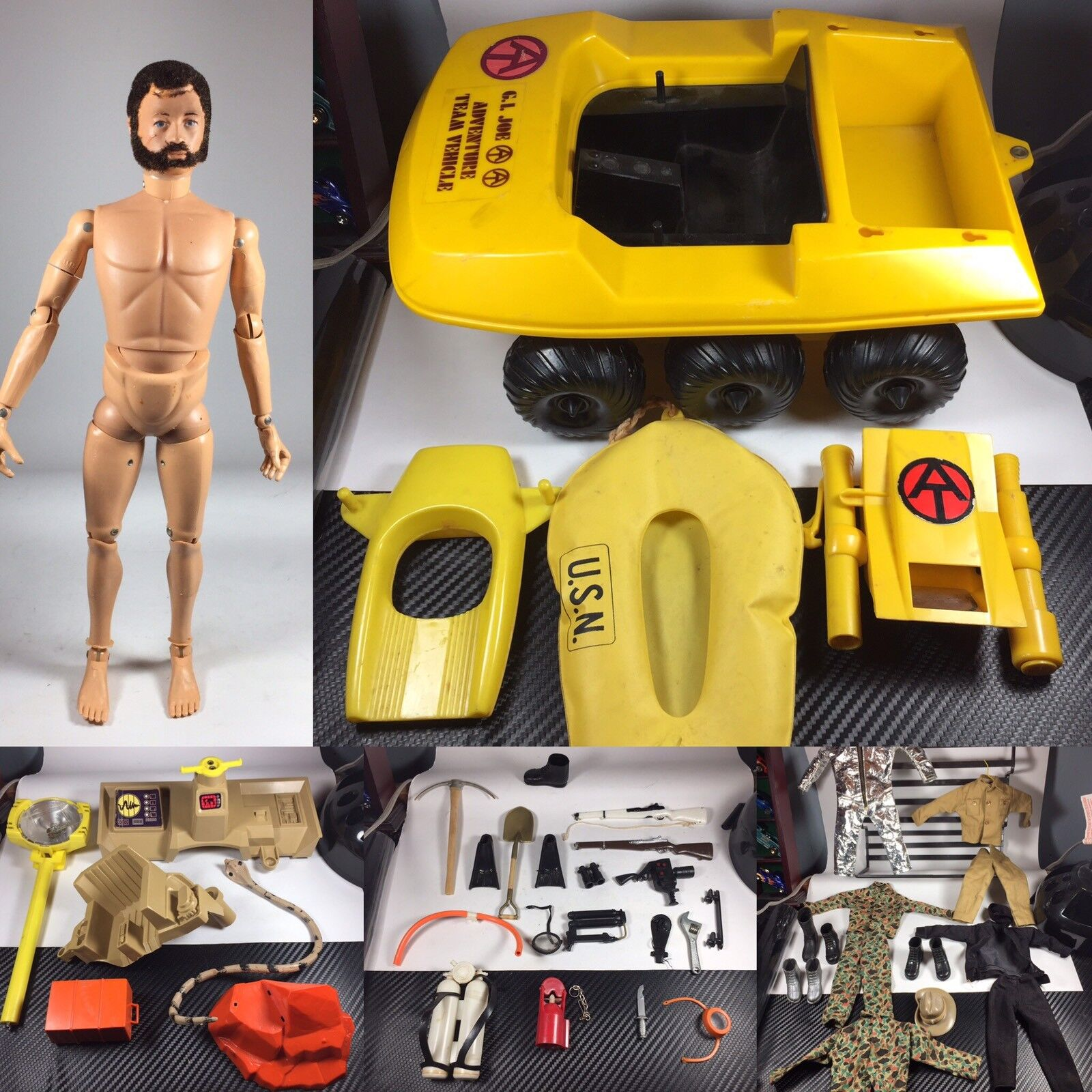 Vintage 1960's GI Joe w  accessories & parts pieces from diff playsets