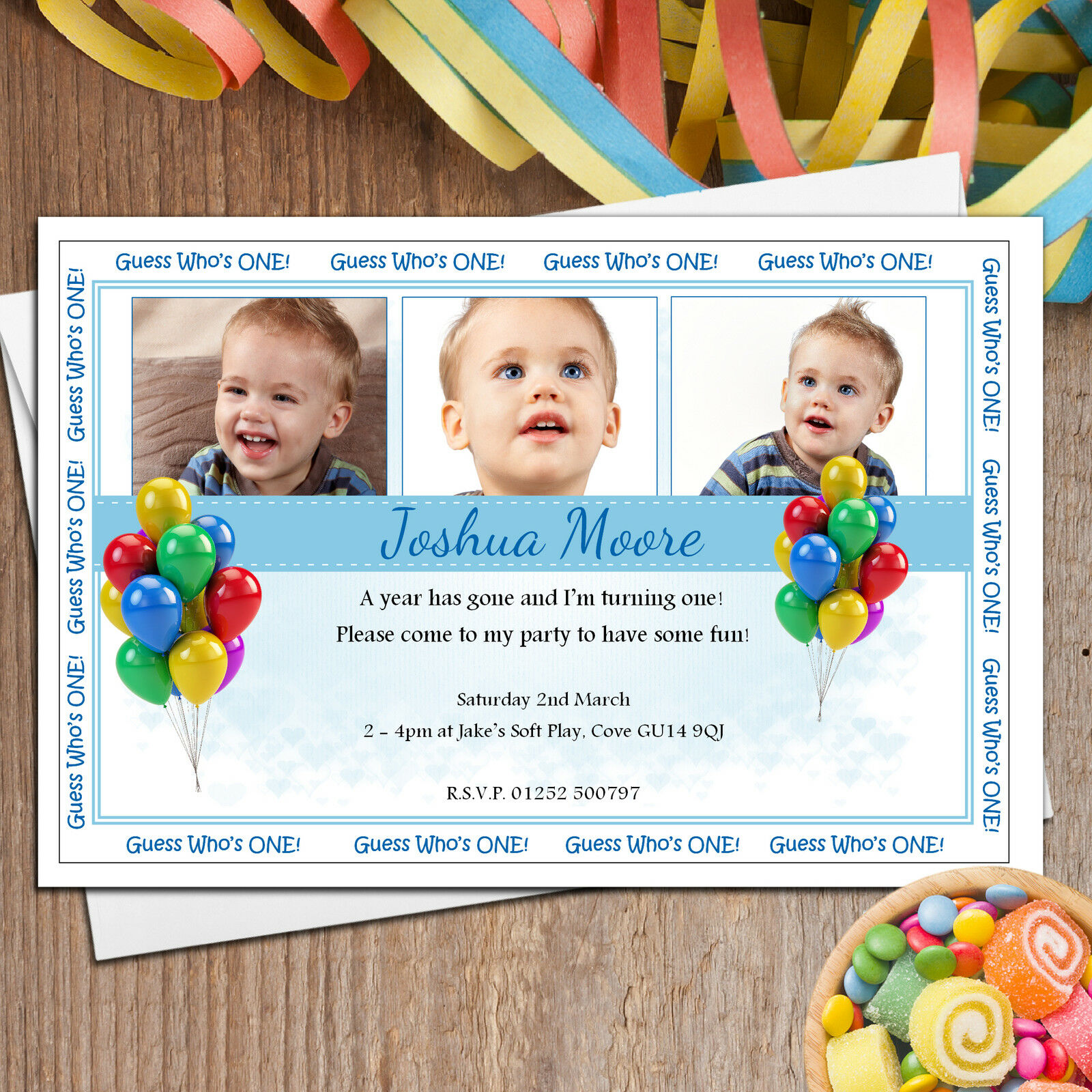 Personalised Boys 1st First Birthday Party PHOTO Invitations  N16