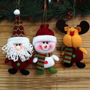 Christmas Tree Fabric Santa Snowman Reindeer Ornaments ...