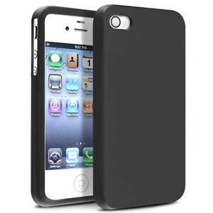For-Apple-iPhone-4-4S-G-OS-Black-Silicone-Rubber-Soft-Skin-Case-Cover