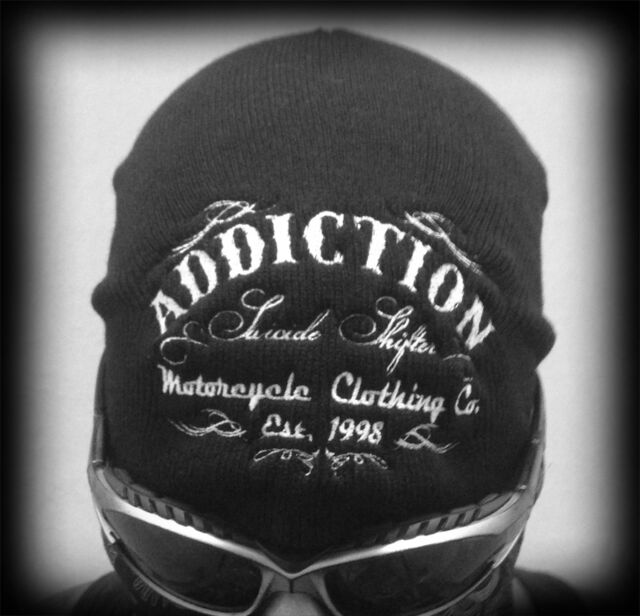 Biker Embroidered Knit Black Beanie Cap, Black Motorcycle Style Cap Hat Suicide