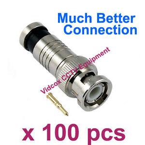 NEW 100X RG59 Coaxial Compression Fitting BNC Connector for CCTV Security Camera
