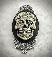 Hot Pink Lady Lolita Skull Antique Silver Brooch