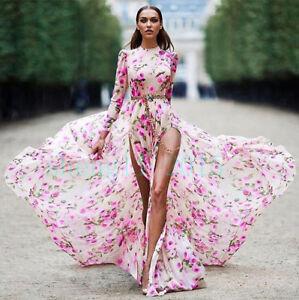 Occident-Runway-Womens-Long-Boho-Dress-Floral-Print-Swing-Dresses-Maxi-Dress-New