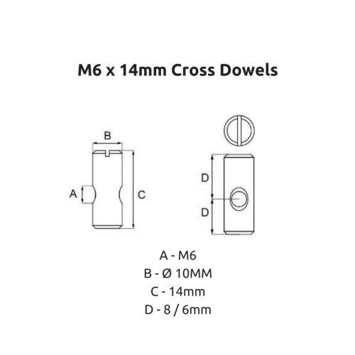 Remplacement 6 mm Croix Chevilles fendue Barrel écrous fixations M6 x 14 mm lit superposé Cots