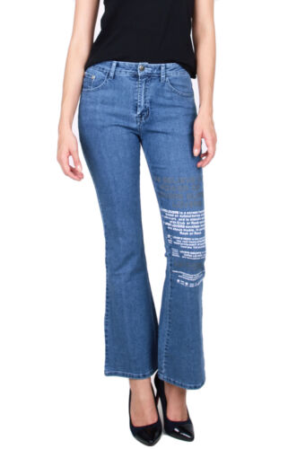 JEANS Donna Bootcut Pantaloni 100/% COTONE STONEWASHED Hüfthose Loose Fit Western