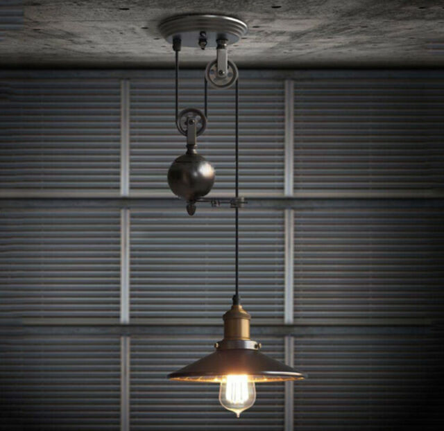 Rustic Industrial Pulley Pendant Light 1 Light Black Iron Ceiling