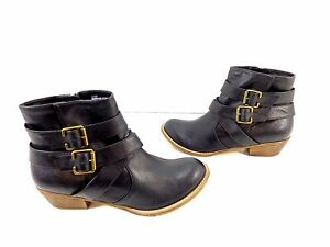 Women-039-s-ABOUND-039-BLAIRE-039-Side-Zip-Buckle-Accent-Ankle-Boots-Black-Size-6-5-M