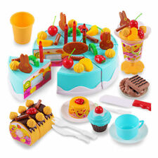 75Pcs DIY Cutting Fruit Birthday Cake Food Play Toy Set For Kids Children Gifts