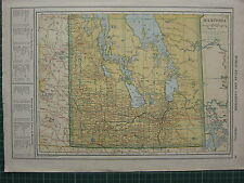 1926 MAP ~ MANITOBA COUNTIES PRINCIPAL CITIES & TOWNS MORRIS RUSSELL CARMAN