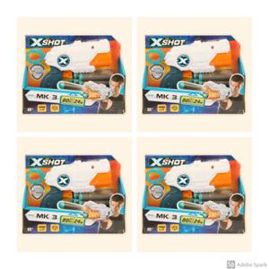 NEW-Lot-Set-Of-4-Zuru-X-Shot-MK3-Includes-12-Soft-Foam-Darts-XShot-Toy-Gun
