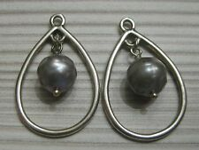 Authentic Pandora 290614PSG Teardrop Grey Faceted Pearl 925 Drop Earrings Charm