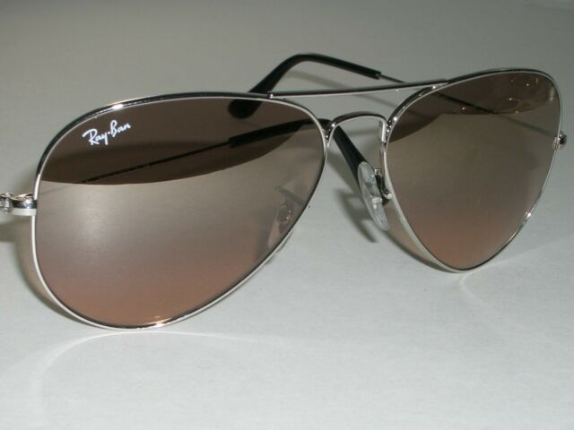 58 14mm RAY BAN RB3025 TOP GRADIENT FLASH ROSE TONE SILVER AVIATOR SUNGLASSES
