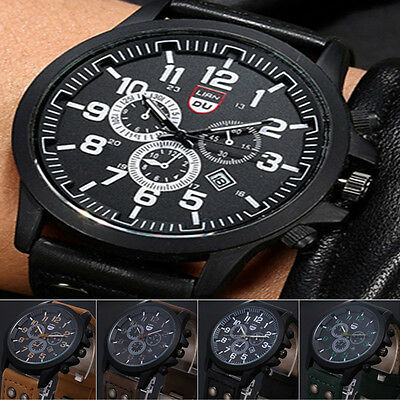Vogue Men's Military Date Watch Leather Analog Quartz Army Sport Wristwatches