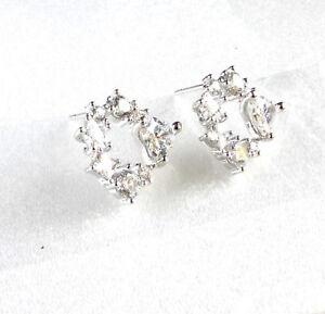 Women-Girl-White-Gold-plated-Clear-Heart-Star-CZ-Cubic-Zirconia-Stud-Earrings-UK