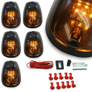 5pc-Cab-Lights-Smoked-Amber-Running-Marker-Parking-Roof-Top-LED-Truck-4x4-Pickup