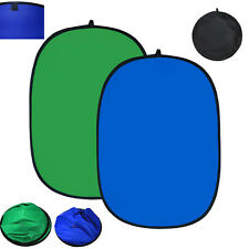 Green/Blue 5x7feet Background Panel Popup Backdrop Reversible Collapsible Screen
