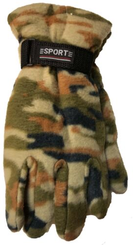 Outdoor Sports Winter Fleece Thermal Insulation Gloves// Camouflage Black