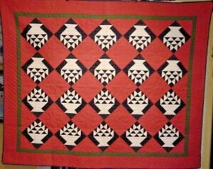 ANTIQUE-CHIPS-IN-BASKET-QUILT-INDIGO-AND-DOUBLE-PINK-QUILT-NEAR-MINT-1880-S