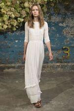 NWT ULLA JOHNSON Long Maxi Silk Clara Dress Boho Embroidered Crochet White US 8