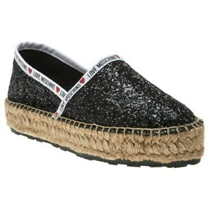 eb1f15d4ac806 Details about New WOMENS LOVE MOSCHINO BLACK GLITTER SYNTHETIC SHOES  ESPADRILLES