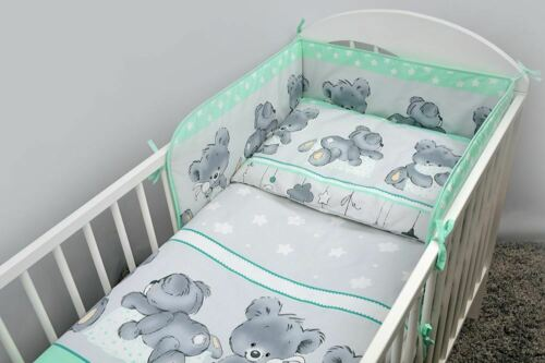 3 Piece Children Bedding Set with Bumper for Baby 120x60 140x70 cm Cot Bed