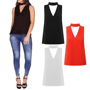 Womens Ladies Cut Out Plunge V Neck Collar Choker High Neck Blouse T ... bd0abe90c
