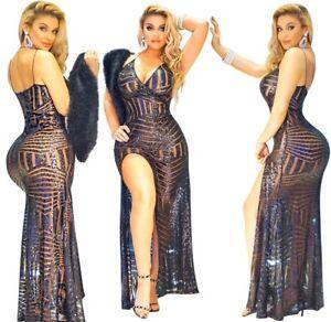 new styles d3ea4 88aae Dettagli su Abito lungo ricamato Aderente Scollo Cerimonia Party Cocktail  Sequin Dress M