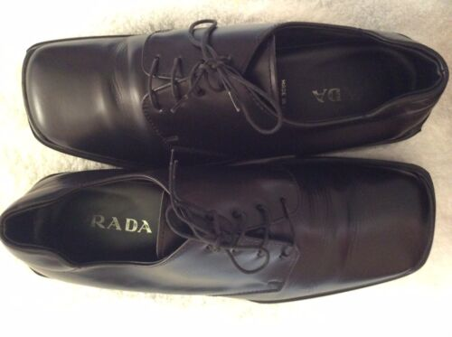 PRADA Men's Classic Black Leather Lace Up Oxford S