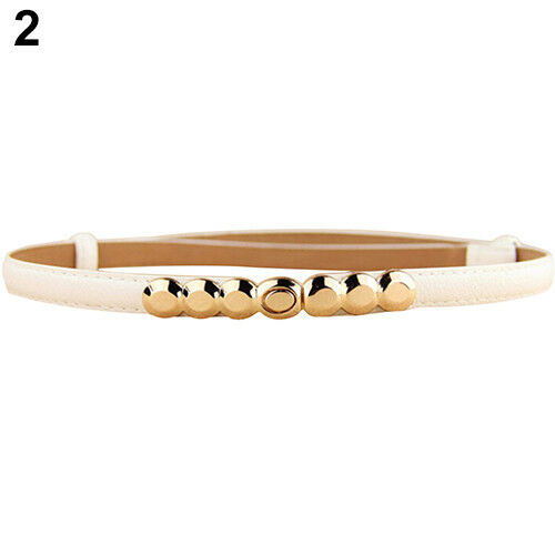EG/_ Women Faux Leather Belt Gold Tone Buckle Thin Girdle Waistband Adjustable Vo