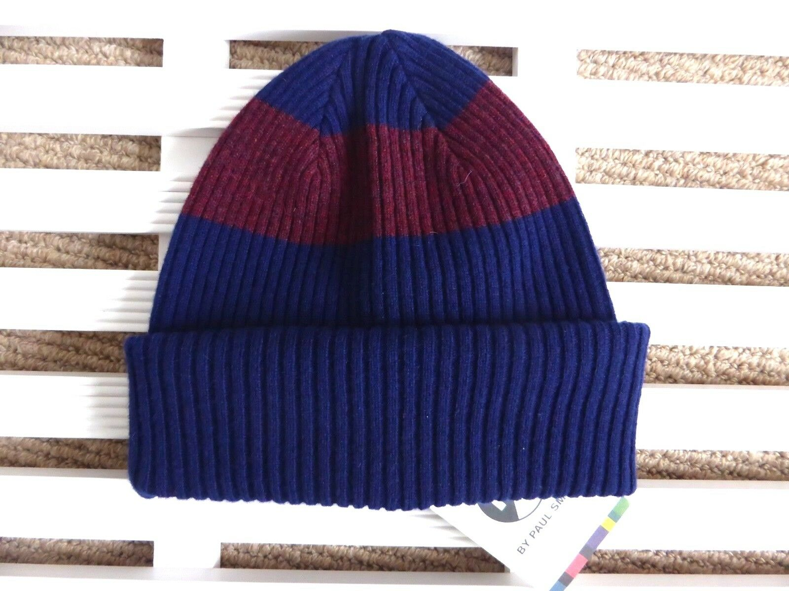 PAUL SMITH Navy 100% Lambswool  Ribbed Beanie Hat Toque MADE IN SCOTLAND New Tags  order online