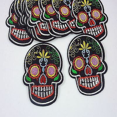 1pcs Embroidered Cloth Iron On Patch Sew Motif Applique skull F66